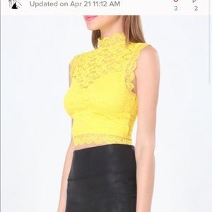 Yellow lace crop top